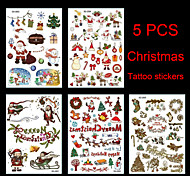 5PCS  Christmas Pattern Waterproof Tattoo Stickers 21x15CM