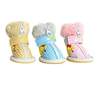 Dog Shoes & Boots Fashion Blue / Pink / Yellow Winter PU Leather