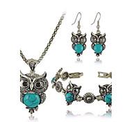 Women's European Fashion metal Imitation Turquoise Cute Little Owl Necklace Earrings Bracelet Set