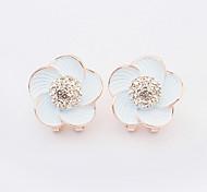 Women's New European Style Fashion Shiny Rhinestone Flower Stud Earrings