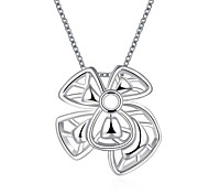 Classic Fashion Bownot Pendant Necklace Women's Silver Plated Necklace with Chain(Color:Silver)