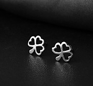 925 Silver Heart-Shaped Clover Love Joker Women's Earrings