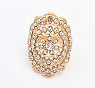 Women's European Style Fashion Shiny Rhinestone Flower Ring