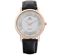 Masculino Relógio de Moda Quartz Relógio Casual Couro Banda Relógio de Pulso Preta