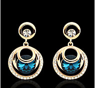 Women's Elegant AAA Zircon Crystal Drop Earrings for Wedding Party, Fine Jewelry,Dark Blue