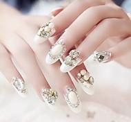 24pcs bianco francese sposa punte festa chiodo di lusso intarsi gioiello