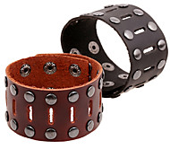 Fashion Men's Rivets Wide Leather Bracelets