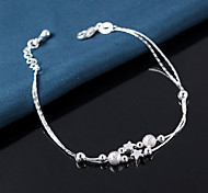 S925 Silver Star Ball Chain & Link Strand Bracelet Jewelry