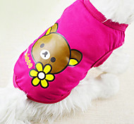 Dog Shirt / T-Shirt Red / Blue / Pink / Yellow Dog Clothes Spring/Fall Cartoon Fashion
