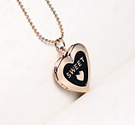 DIY Fashion Heart Shaped Box Can Put Photos Necklace