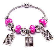 Korean version of the new female snake chain bracelet bracelet pendant abacus mini roses