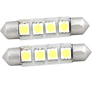 White 4 SMD LED Festoon Interior Dome Bulb Light 42mm (2 Pcs)