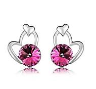 Austria Crystal Stud Earrings for Women Heart Earrings Fashion Jewelry Accessories Silver Plated