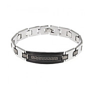 High Quality Stainless Steel Black Silver-Tone Mens Bracelet Bangle 8
