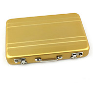 Mini Portable Safe Box Style Aluminum Alloy Credit Card Case Holder Golden