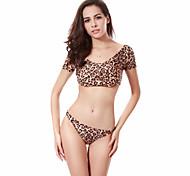 Leopard Allover Print Lycra Fabric Puckering Shoulders Swimwear Micro Thong Sexy Brazilian Bikini Set M.L.XL.XXL DM062