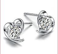 925 Silver Sterling Silver Jewelry Earrings Sample Lovely Heart Stud Earring 1Pair