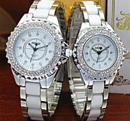 Herren Damen Paar Modeuhr Quartz Armbanduhren für den Alltag Legierung Band Silber Gold Weiß Golden