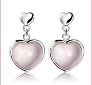 2016 Korean Women 925 Silver Sterling Silver Jewelry Pink Crystal Heart Earrings Drop Earrings 1Pair