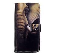 elefante padrão estojo de couro pu com slot para cartão e ficar para iPhone 6 6s / iphone