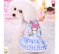 Cute Fresh Cotton Plaid Skirt Pet Dog Clothes Teddy for Pet Dogs