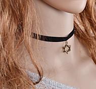 Fashion Popular Punk Vintage Black Fabric Necklace Hollow Hexagonal Star Pendant Necklace Women Jewelry  Girls Gift
