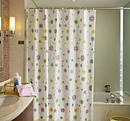 White Waterproof Mildew Thick PEVA Shower Curtain Purple Flowers 180X200