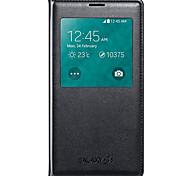 Для Кейс для  Samsung Galaxy Чехлы панели с окошком Флип Чехол Кейс для Один цвет Искусственная кожа для Samsung S5