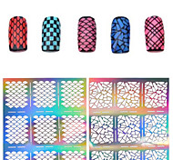 2016 New 1pcs Silver Hollow Stencil Nail Stickers Fish Scale Pattern DIY Nail Stamping Polish Guide Manicure Tools