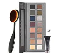 paleta lorac 16 cores da paleta da sombra de olho luminoso com primer olho + 1pcs masterclass fundação oval pincel de maquiagem
