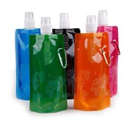 Convenient Portable Folding Collapsible Vapur Water Bottle Bag with Hook 480ml Random Colour
