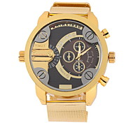 Men's Military Fashion Dual Time Zones Gold Steel Band Quartz Watch Cool Watch Unique Watch
