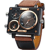 Men's Military Fashion Three Analog Time Leather Band Quartz Watch Cool Watch Unique Watch