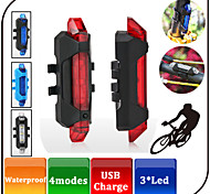 Micro USB Rechargeable LED Bike Lights/4 Mode Bike Tail Light With Clip / Lithium Battery Camping/Hiking / Cycling