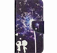 Cross Pattern PU Leather Phone Case for Wiko Rainbow Up - Lovers and Dandelion Pattern