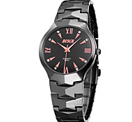 Men's Japanese Quartz Black Steel Band Water Resistant Dress Watch Jewelry