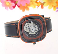 Men's Fashionable  Square Thread Empty Wrist  Watches Leather Band Cool Watch Unique Watch