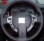 ZIQIAO Black Genuine Leather Steering Wheel Cover for Nissan QASHQAI X-Trail NV200 Rogue