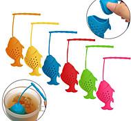 difusor de silicona peces forma de la hoja de té a granel infusor especias filtro colador de hierbas (color al azar)