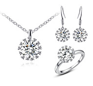 T&C Women's Big Sparkling Top Clear Cubic Zirconia Diamond Pendant Necklace and Dangle Earrings and Ring Sets