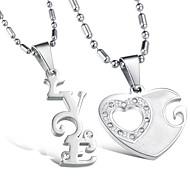 Vilam® Zinc Alloy I Love You Heart Couple Necklaces Super Shining