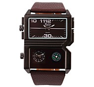 Men's Rectangle Military Fashion Design Leather Band Quartz Watch Wrist Watch Cool Watch Unique Watch