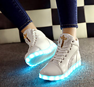 Women's LED Shoes USB charging Leatherette Fashion Sneakers Outdoor/Athletic/Casual Black/White
