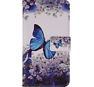 Blue Butterfly Painted PU Phone Case for Huawei P8 Lite/P8