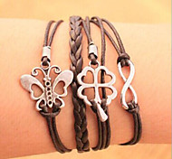leather Charm BraceletsUnisex Multilayer Leather Bracelet Hollow inspirational bracelets