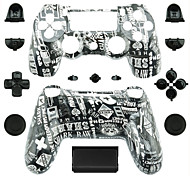 Replacement Controller Case for PS4 Controller (Black and White Alphabet)