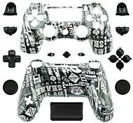 Ersatz-Controller Fall für PS4 Controller (schwarz und weiß Alphabet)