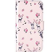 teste padrão de flor veados gravado estojo de couro pu para 5s iphone 5 / iphone / iphone SE