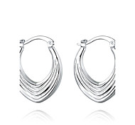 lureme®Fashion Style Silver Plated Screw Thread Shaped Hoop Earrings