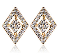 18K Gold Diamond Crystal Security Quality Stud Earrings Jewelry for Wedding Party